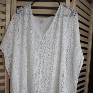White crochet swimsuit coverup NWOT